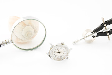 Clock with Magnifier and Compass