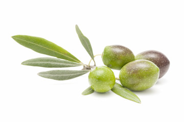 fresh olives on white background