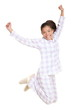 Woman jumping morning fresh in pajamas