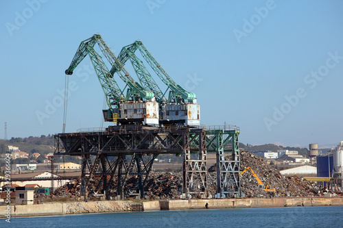 Cranes and scrapyard