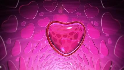 Diamond Heart with Small Ruby Hearts