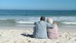Aged man and woman looking at the horizon