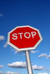 Stop sign with sky backround