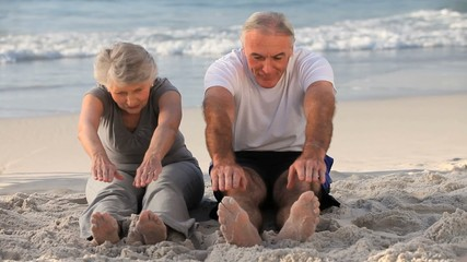 Elderly man and woman doing flexibility exercice