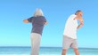 Aged couple doing flexibility exercice
