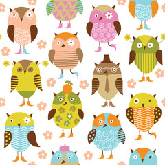 seamless pattern with owl © LenLis
