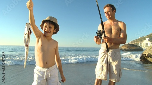 Father fishing with his boy