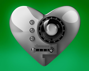 Silver heart safe isolated on green background. 3D render