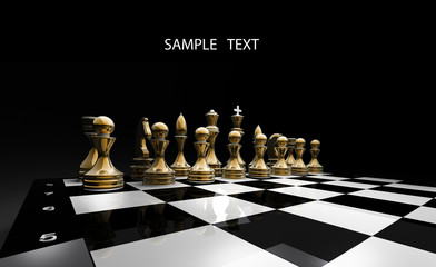 Gold chess on a black background 3d render
