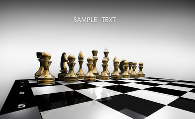 Black chess on a withe background 3d render