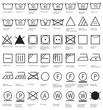 Textilpflegesymbole Waschen, Reinigen, Trocknen, Glätten