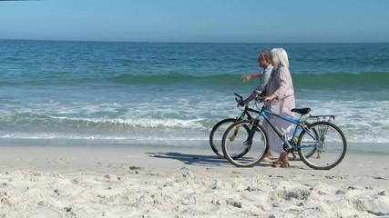 Elderly couple walking with bikes