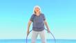 Woman doing a hula hoop