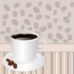 Cup of coffee over striped background with rosted coffee beans