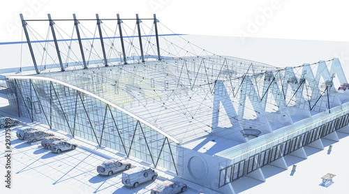 Foto op Canvas Stadion palasport progetto rendering 3d