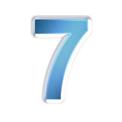 7 - sept - Chiffre bleu effet acier brossé