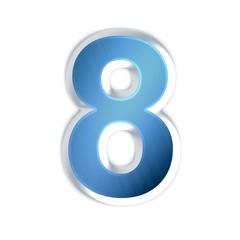 8 - huit - Chiffre bleu effet acier brossé