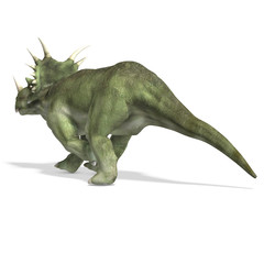 Dinosaur Styracosaurus. 3D rendering with clipping path and