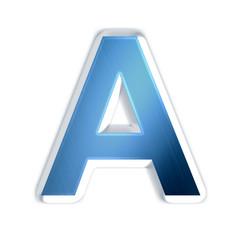A - Lettre bleue acier brossé