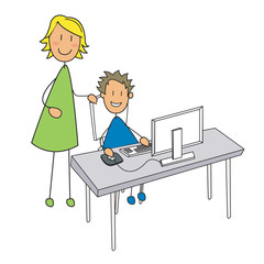 garçon ordinateur cours mère