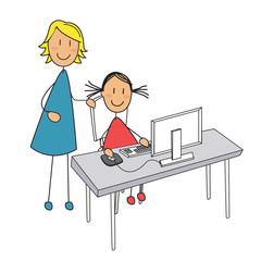 fille cours ordinateur