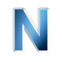 N - Lettre bleue acier brossé