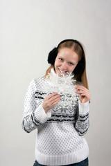 Blonde, snowflake and black fur headphones