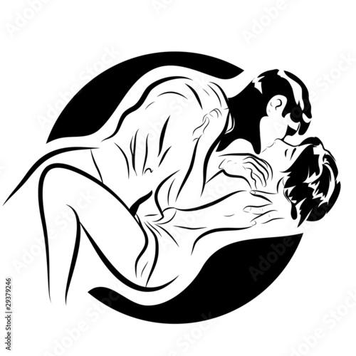 croquis en noir et blanc couple érotique