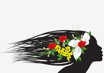 silhouette con fiori