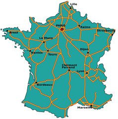 Carte des autoroutes de France