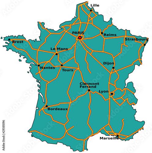 """""""Carte des autoroutes de France"""" fichier vectoriel libre de droits sur la banque d'images ..."""