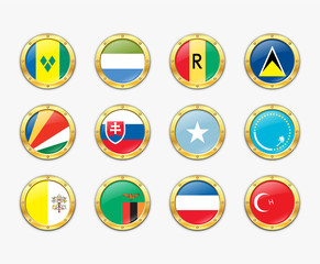 Shields with flags. Vector illustration. More in my portfolio
