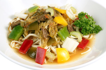 Beef stirfry with noodles and mixed vegetables