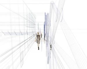 uomo donna inseguimento rendering 3d wire