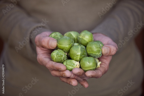 A man holding a handful of brussels sprouts