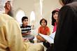 Islamic education inside white mosque, teacher and children
