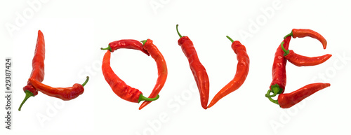 Love text composed of chili peppers