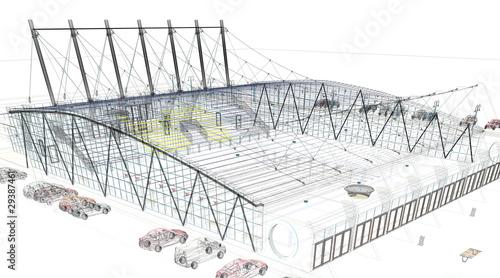 Papiers peints Stade de football palasport progetto rendering 3d