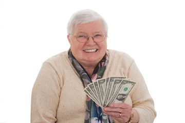 Seniorin mit Dollars Querformat