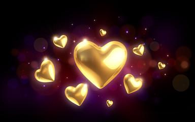 goldene Valentintagsherzen