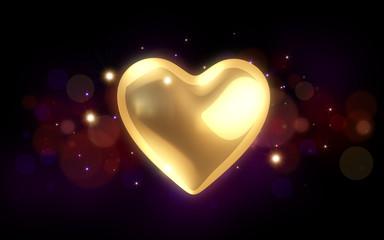 goldene Valentintagsherz