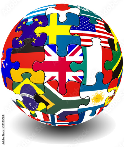 Jigsaw flag piece globe