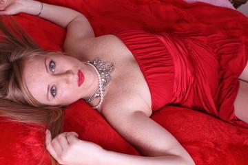 beautiful blonde in bedroom