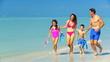 Family in Swimwear on the Beach filmed at 60FPS