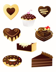Set of chocolate desserts