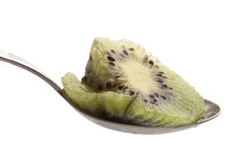 kiwi slice on spoon