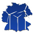 Windkrafträder in abstrakter Deutschlandkarte