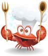 Granchio Chef Cartoon-Crab Cook Cartoon-Vector