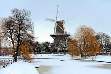 Dutch Mill buildings in snow