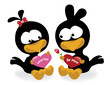 Valentine birds holding hearts